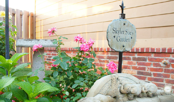Skyler Sue's Garden Bench and Slate Marker